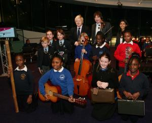 Julian Lloyd Webber and The Mayor of London Boris Johnson with In Harmony Lambeth children