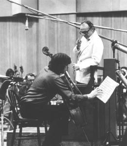 Julian Lloyd Webber recording with Lorin Maazel
